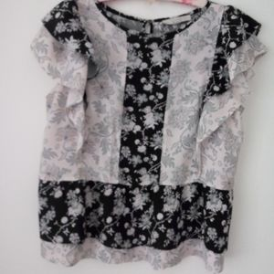 Adorable flouncy sleeve summer blouse